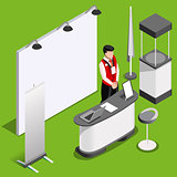 Exhibition Booth 3D Stand People Isometric Vector Illustration