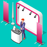 Exhibition Booth Stand 3D Isometric People Vector Illustration