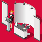 Exhibition Booth Stand 3D People Isometric Vector Illustration
