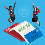 Kid College Student School Isometric People Vector Illustration