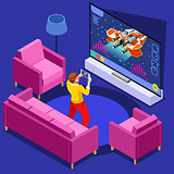 Video Game Computer Gaming Isometric Person Vector Illustration
