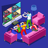 Video Game Console Gaming Isometric Person Vector Illustration