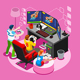 Video Game Screen Gaming Isometric People Vector Illustration