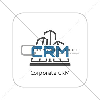 Corporate CRM System Icon. Flat Design.