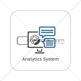 Analytics System Icon. Flat Design.