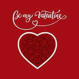 Valentine s Day, brush pen lettering with heart, vector illustration.