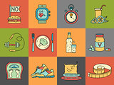 Weight Loss, Diet icons set. Fitness and health collection.