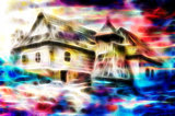 idylic willage houses with wooden belfry, pencil drawing on paper with color fractal effect.