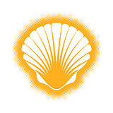 Vector scallop seashell silhouette icon