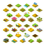 Isometric Farm 3D Building Icon Collection Vector Illustration