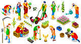 Isometric Farmer 3D People Icon Collection Vector Illustration
