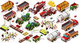 Isometric Farm Vehicle 3D Icon Set Collection Vector Illustratio