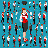 Isometric People Meeting Icon Set Collection Vector Illustration