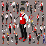 Isometric Person 3D Icon Set Collection Vector Illustration