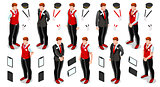 Isometric Person Work Icon Set Collection Vector Illustration
