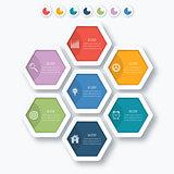 Vector illustration infographics seven hexagons