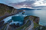 Biscay bay sunset coast landscape, Spain.