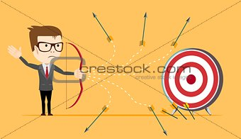 Businessman - loser shooting arrow .