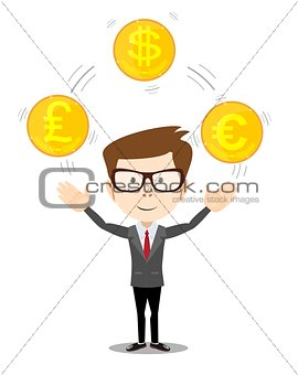 Cartoon businessman juggling with gold coins