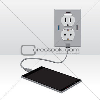 black smartphone charged usb