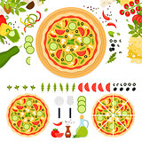 Vegetarian pizza with cheese and vegetables