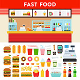 Fast food counter with menu sign.