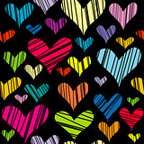 Hatched hearts seamless background