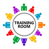 Training room sign with group of people