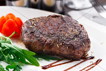 Grilled beefsteak on a plate