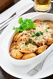 Dumplings with mushroom sauce