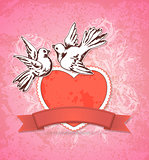 Two white doves and red heart