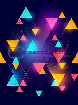 Glowing neon geometric pattern background