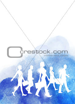 A group of business people walking