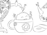 cartoon monster drying tea cup samovar teapot coloring book
