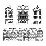 Dutch houses, Amsterdam buildings, Holland or Netherlands archictecture icons