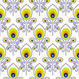 Peacock blue and green seamless vector pattern.