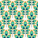 Stylized leaf cyan blue seamless pattern.