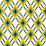 Rhombus geometric green and blue seamless pattern.