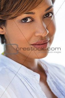 Beautiful Thoughtful Mixed Race Woman