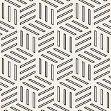Cubic Grid Tiling Endless Stylish Texture. Vector Seamless Black and White Pattern