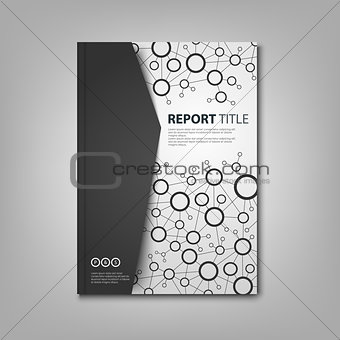 Brochures book or flyer with black white connection design