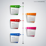 Time line info graphic with abstract colored design pointers