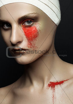 Beauty girl bandage plastic surgery red make up
