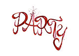 Red wine splash party font with drops on white