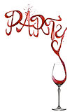Red wine splash party font pouring to glass
