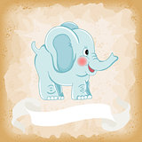 Baby elephant blue on old vintage background