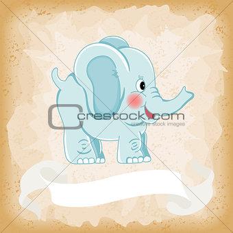Baby elephant blue on old vintage background