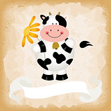 Cute cow on old vintage background