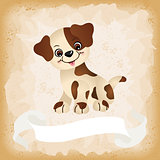 Cute dog on old vintage background