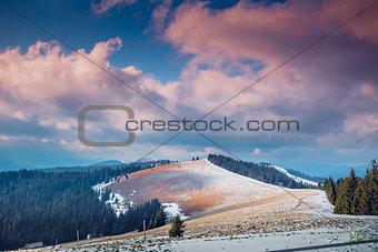 Carpathian mountains in winter time